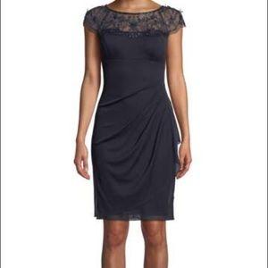 Xscape Beaded Illusion Cocktail Dress